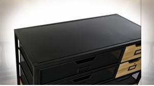 Meuble d'appoint ambiance industrielle en métal finition noire et bois, 130cm