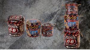 Série de 3 poufs/coffres en bois et polyester, ambiance garage industriel, impressions de motifs Route 66 ambiance USA, Ø40cm