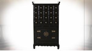 Meuble d'appoint en bois d'orme finition noir laqué, esprit meuble de métier Japonais, 103cm