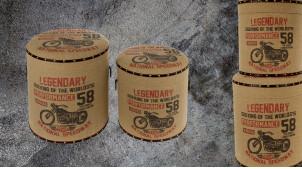 Série de 2 poufs/coffres en bois et habillage effet toile de jute, ambiance vintage avec impressions de motifs de motos, Ø40cm