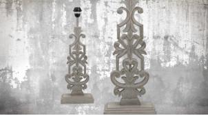 Pied de lampe en bois sculpté, modèle Bucarest de 57cm, finition naturelle blanchie, ambiance grande rosace