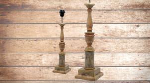 Pied de lampe en bois sculpté, modèle Florence de 51cm, finition naturelle usée effet stuc, ambiance élégance à l'italienne