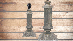 Pied de lampe en bois sculpté, modèle Athènes de 37cm, finition naturelle usée effet métal, ambiance vieille colonne grecque