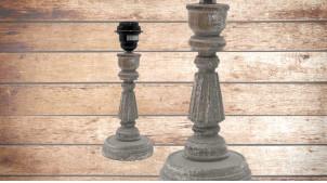 Pied de lampe en bois sculpté, modèle Naxos de 30cm, finition naturelle usée, ambiance vieille colonne grecque
