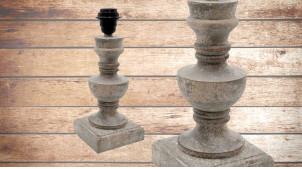 Pied de lampe en bois sculpté, modèle Doha de 31cm, finition naturelle usée, forme de vieux vase sur piédestal