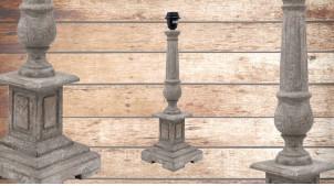 Pied de lampe en bois sculpté, modèle Katmandou de 51cm, finition naturelle usée, ambiance temple et méditation
