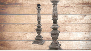 Pied de lampe en bois sculpté, modèle Pompéi de 48cm, finition naturelle usée, ambiance vestige de civilisation ancienne