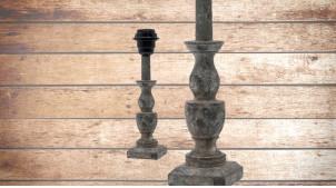 Pied de lampe en bois sculpté, modèle Erevan de 26cm, finition naturelle usée bleutée, ambiance vestige de civilisation ancienne