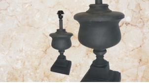 Pied de lampe amphore en bois, modèle Milan de 45cm, finition pierre ardoise, ambiance Médicis et Rome antique