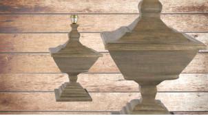 Pied de lampe amphore en bois, modèle Rouen de 60cm, finition sable du désert, forme impériale et imposante