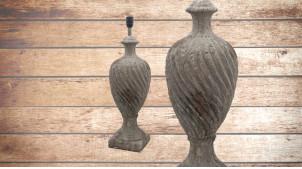 Pied de lampe amphore en céramique, modèle Chicago de 70cm, finition pierre ancienne usée, ambiance classique et intemporelle