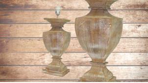 Pied de lampe amphore en bois, modèle San Francisco de 48cm, finition naturelle effet blanchi, ambiance rustique et authentique