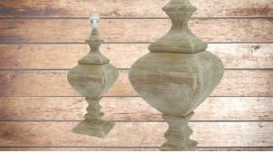 Pied de lampe amphore en bois, modèle Boston de 50cm, finition naturelle effet blanchi, ambiance rustique et authentique
