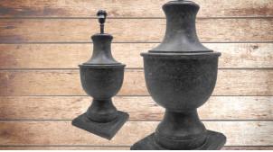 Pied de lampe amphore en bois, modèle Taipei de 58cm, finition ardoise effet pierre, ambiance matières nobles