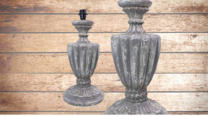 Pied de lampe amphore en bois, modèle Santiago de 54cm, finition bois usé gris bleuté, ambiance maison de maitre française