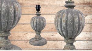 Pied de lampe amphore en bois, modèle Détroit de 36cm, finition bois usé gris bleuté, ambiance vieille Italie
