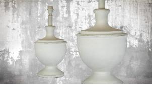 Pied de lampe amphore en bois, modèle Miami de 52cm, finition bois blanchi décapé, ambiance chic et monochrome