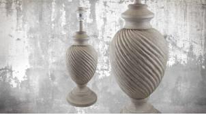 Pied de lampe amphore en bois, modèle Seattle de 48cm, finition bois blanchi vieilli, ambiance classique et élégante