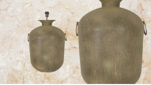 Pied de lampe amphore en métal, modèle Brisbane de Ø44cm, finition brun noisette bronze avec anses latérales, 66cm