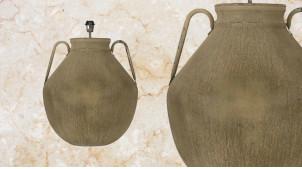Pied de lampe amphore en métal, modèle Agadir de Ø47cm, finition brun noisette bronze avec anses latérales, 61cm
