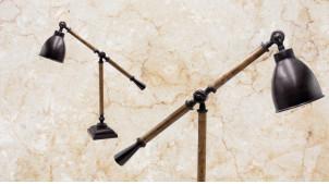 Lampe de table en bois et métal, modèle Montana de 64cm, base carrée et abat jour finition charbon, ambiance rustico chic