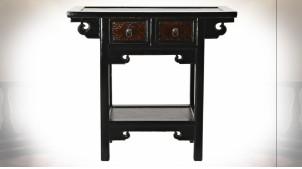 Petite console à 2 tiroirs en bois d'orme finition noir laqué ambiance Japonaise, 85cm