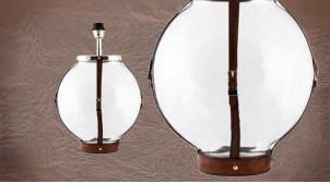 Pied de lampe authentique en verre et cuir, modèle Barbade de Ø33cm, base ronde avec ceinture en cuir véritable, 50cm
