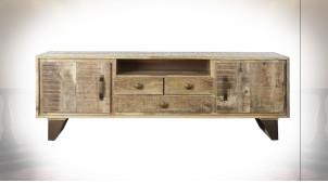 Meuble TV de style rustique en bois de manguier finition naturelle et métal, 150cm