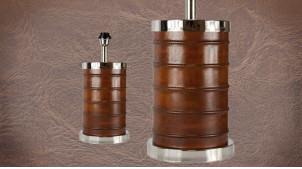 Pied de lampe authentique en métal et cuir, modèle Fidji de 42cm, cylindre chromé et cuir véritable, Ø20cm