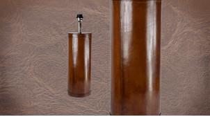 Pied de lampe authentique en métal et cuir, modèle Monaco de 59cm, forme cylindre et cuir véritable cigare, Ø18cm