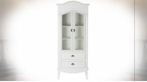 Grande vitrine en bois finition blanche de style romantique, 190cm