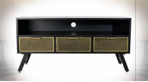 Meuble TV en métal finition noire,tiroirs à façades dorées ambiance atelier chic, 125cm