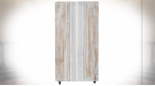 Meuble cave en bois finition naturelle blanchie de style Boho, 15 casiers à bouteilles, 127cm