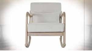 Fauteuil à bascule de style rétro, tissu de lin gris clair et bois de caoutchouc finition naturelle, 85cm