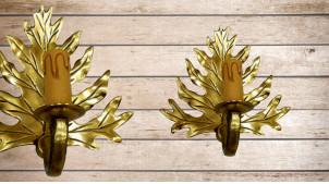 Base d'applique en forme de feuille dorée, en bois sculpté avec porte chandelle, 20cm