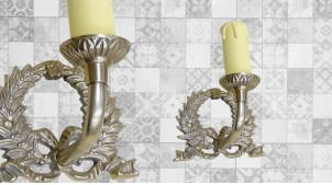 Base d'applique en métal en forme de couronne de laurier, finition chromé vieilli, avec porte chandelle, 13cm