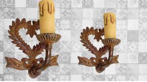 Base d'applique murale en métal finition oxydée, forme de coeur ambiance savoyarde, 12cm