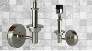 Base d'applique en métal de style moderne, finition chromée brillante, forme de L, base cylindrique, 29cm