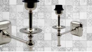 Base d'applique en métal chromé, forme de L toute en finesse, ambiance rétro chic, 25cm