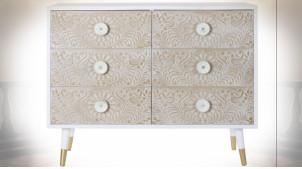 Commode à 6 tiroirs en bois de sapin finition blanche et naturelle de style Indien, 100cm