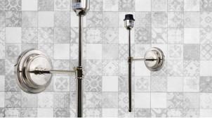 Base d'applique en métal en forme d'ancienne torche murale, ambiance fine et moderne, finition chromée, 48cm