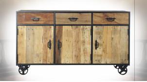 Buffet enfilade en bois recyclé finition naturelle ambiance atelier, 150cm