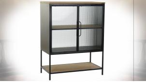 Petit buffet vitrine en bois et métal finition noire ambiance industrielle, 102cm