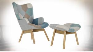 Fauteuil avec repose-pieds de style moderne motifs patchwork, 95cm