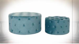 Série de 2 poufs en velours capitonné finition bleu pétrole ambiance rétro, Ø 80cm
