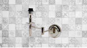 Base d'applique avec bras articulé en métal finition chromé, ambiance chic et brillante, 44cm