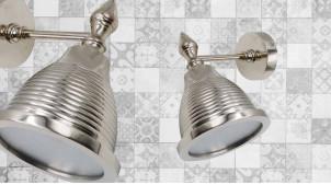 Applique spot en métal finition chromée, forme conique avec zébrures, ambiance vintage, 24cm