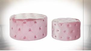 Série de 2 repose-pieds en velours capitonné finition rose poudré de style rétro, Ø 80cm