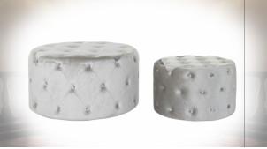 Serie de 2 poufs ambiance rétro en velours capitonné finition gris clair, Ø 80cm