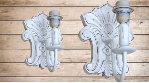 Base d'applique murale en bois sculpté en forme de feuille finition blanchie décapée, 27cm